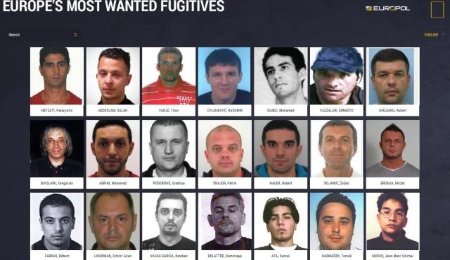 Webová stránka Europe´s Most Wanted, foto: eumostwanted.eu